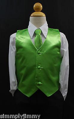 Toddler /& Kids GREEN LIME SATIN VEST /& TIE SET for Boy/'s Suit Tuxedo Sz 2T 14