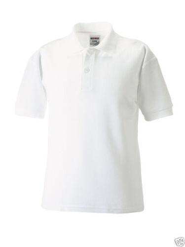 Russell Jerzees 539B Plain Polycotton WHITE School Polo Shirts 3-12yrs