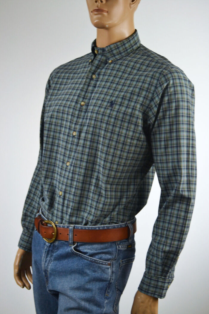 Ralph Lauren Classic Fit Teal Green Navy bluee Plaid Long Sleeve Shirt Pony-M-NWT