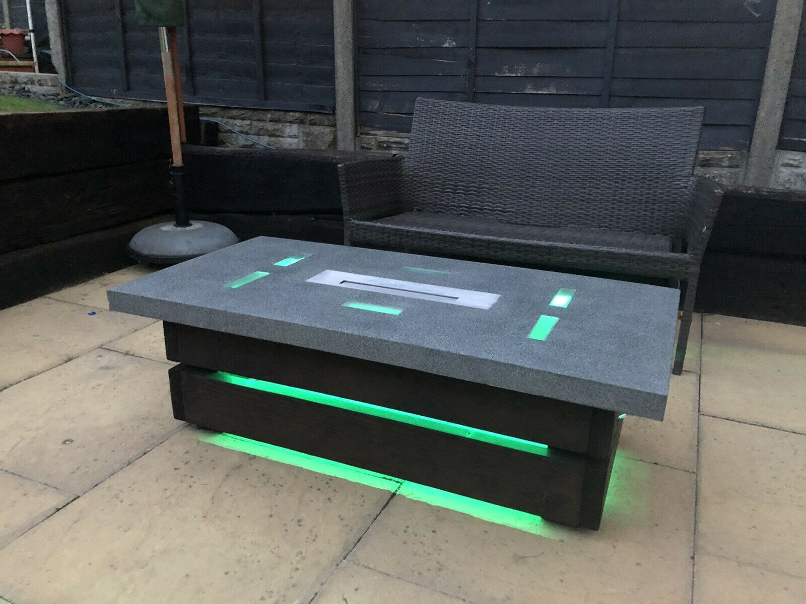 Bio ethanol fire pit table, Concrete Top, Wooden Base, Inter-grated LED Lights