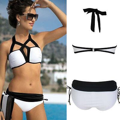2019 Black//White Pad Top Cutout Straps Rouched Bottom Bikini Bathing Suit XL-2XL