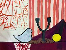 """""""one bird""""art contemporain nature morte peinture gouache sur papier 65x50 signé"""