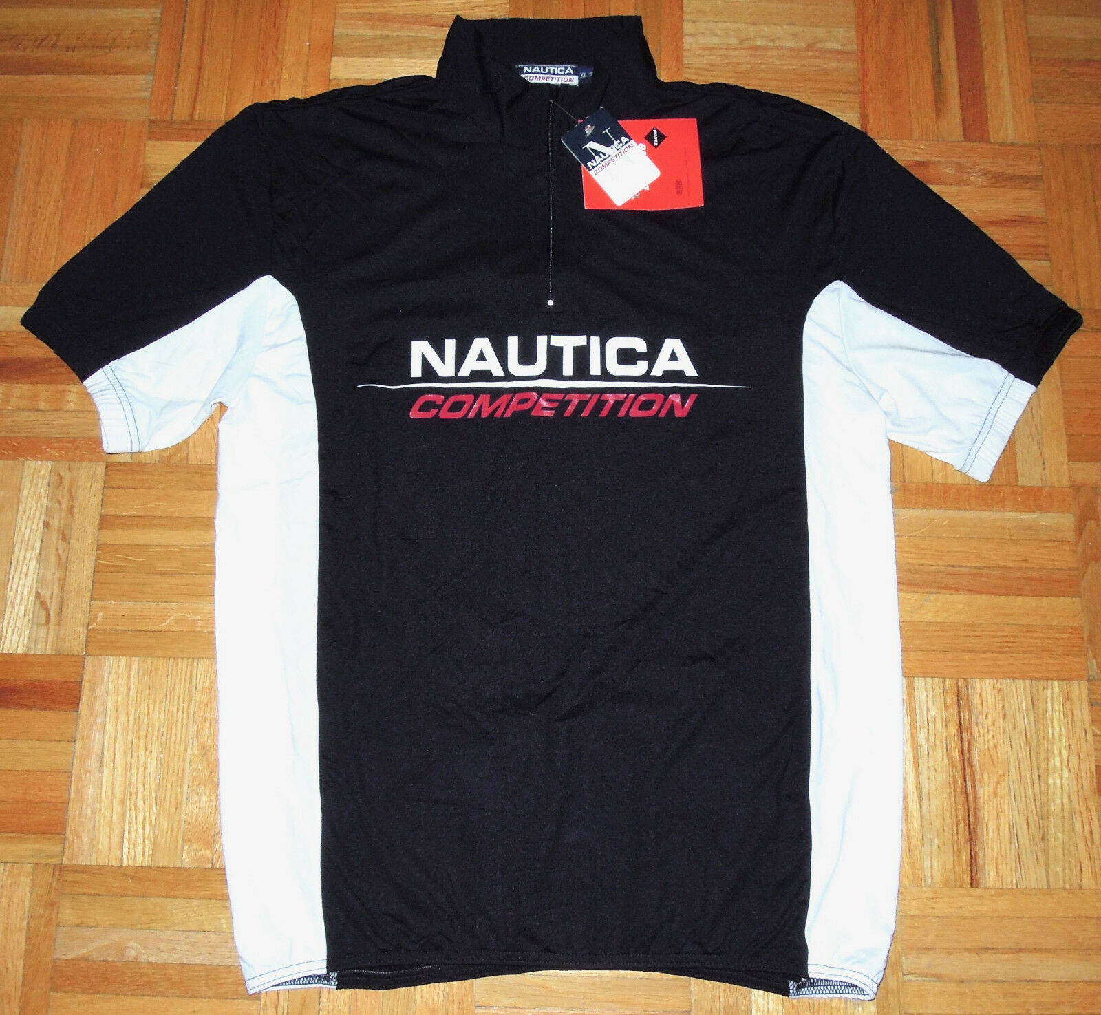 VTG 90s NAUTICA COMPETITION Cycling Jersey S/S 1/4 Zip HIP HOP Spellout XL NWT