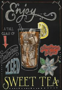 Iced-Sweet-The-Southern-Style-Panneau-Metallique-Plaque-Etain-Signer-20-X-30-CM