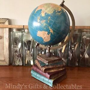 39cm high blue spinning world globe map earth with antique book image is loading 39cm high blue spinning world globe map earth gumiabroncs Image collections
