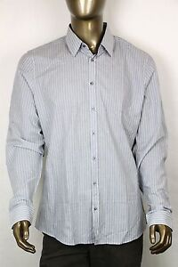 New-Gucci-Mens-Light-Gray-Blue-Striped-Slim-Fit-Dress-Shirt-307648-1765