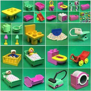 Lego-Duplo-Puppenhaus-Zubehoer-Moebel-Schrank-Tisch-Stuhl-WC-Geschirr-W-Duplo