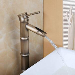 Bamboo Shape Antique Brass Bathroom Single Handle Vessel Sink Faucet