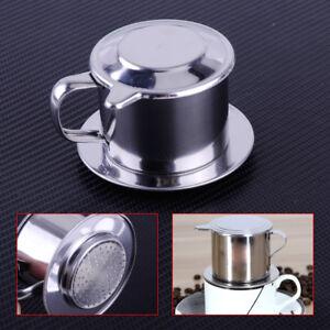Coffee Maker,Stainless Steel Cup Vietnamese Coffee Drip Filter Maker Phin Infuser(Black)