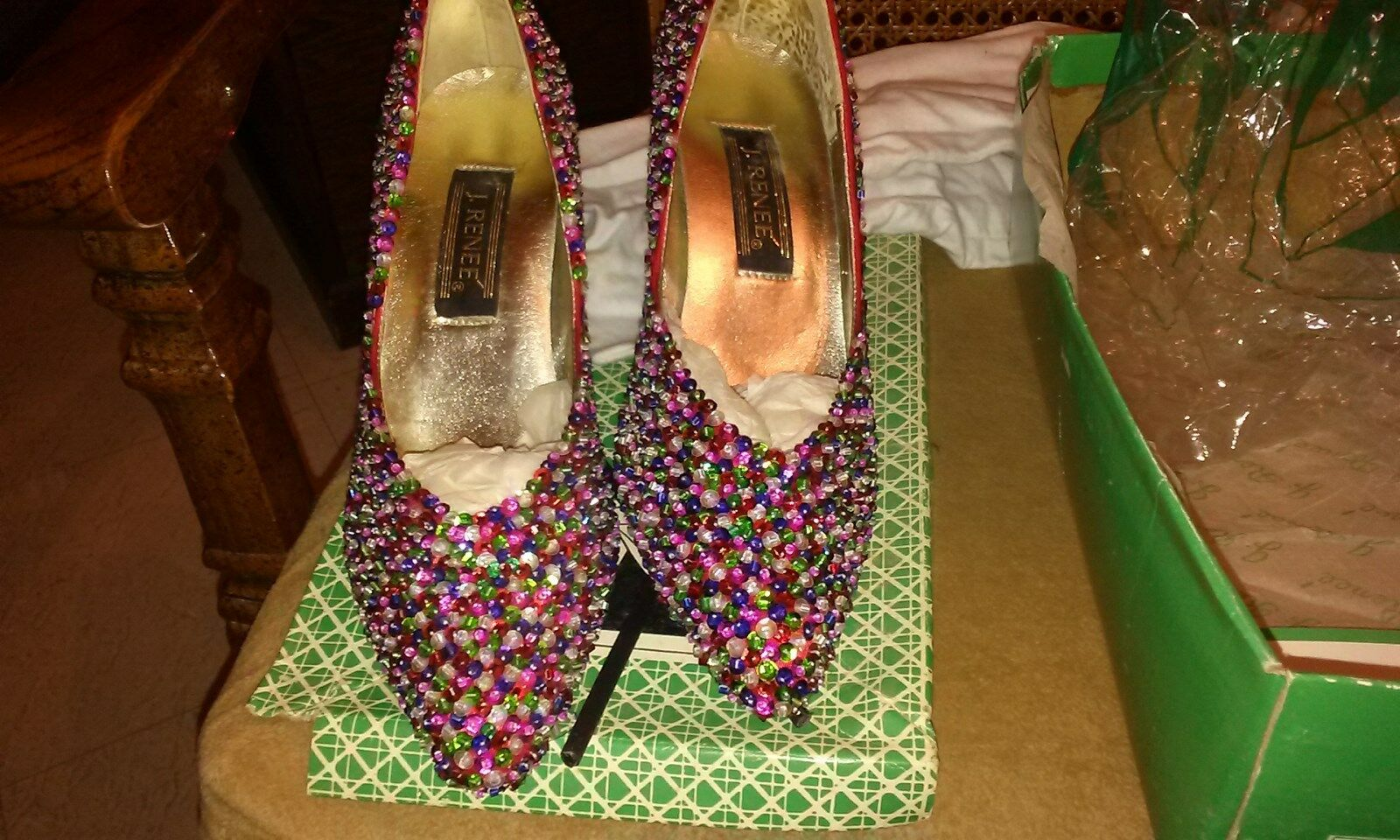 Woman Woman Woman nero 9(M) New J Renee  scarpe with Crystal Designs 35cd09