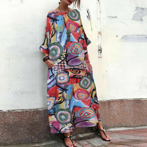 Women-Retro-Oversize-Long-Shirt-Dress-Floral-Print-Kaftan-Maxi-Dress-Tops-Plus