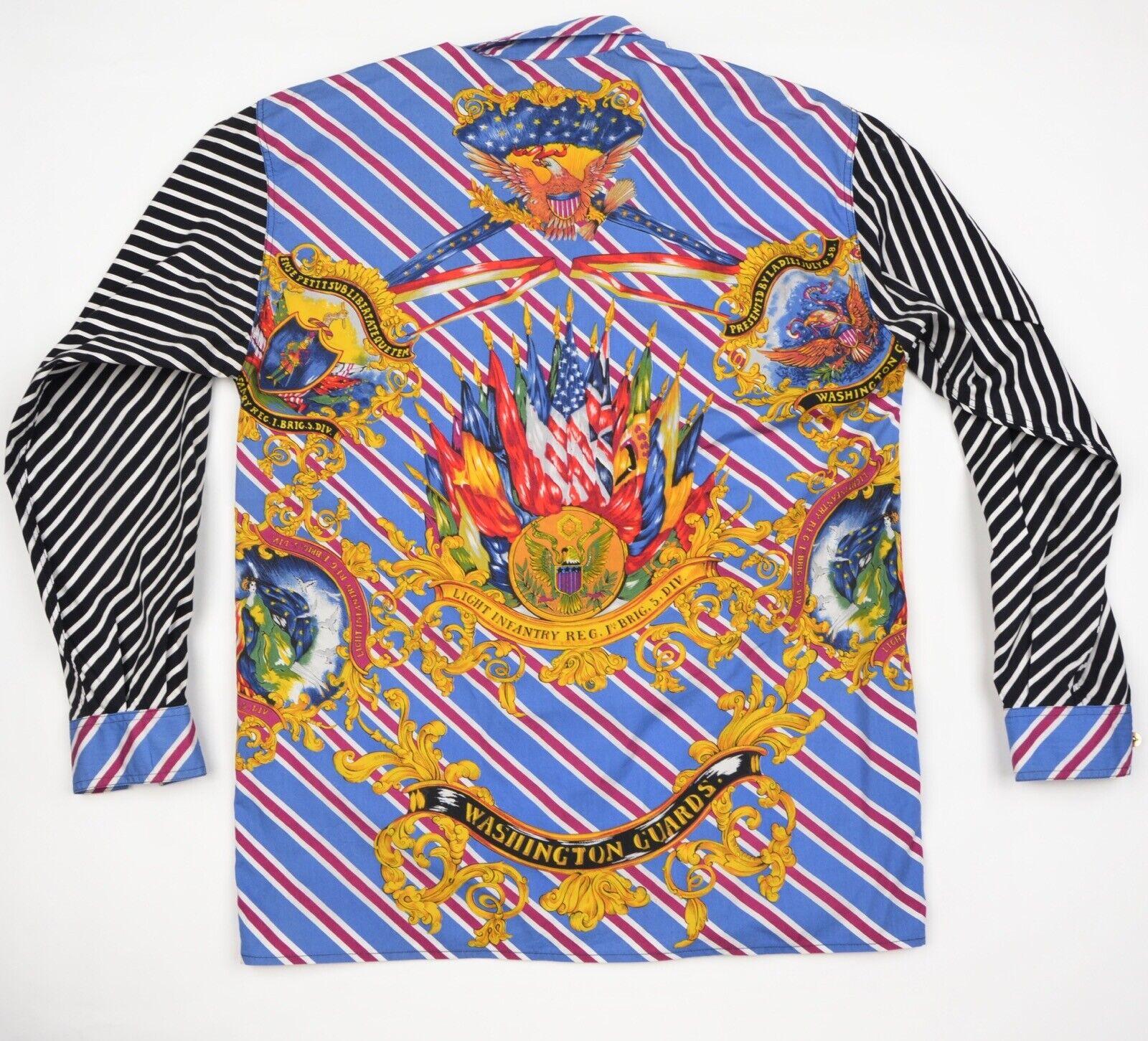 VINTAGE '93-94 Versace Jeans  Couture Hemd azulse Blouse Gr S Washington Guards  caliente