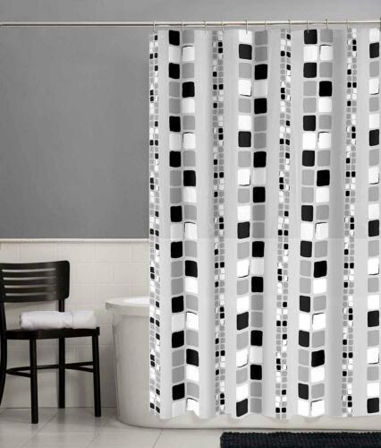 "New Mainstays Black Squares PEVA Shower Curtain Standard Size 70/"" x 72/"""