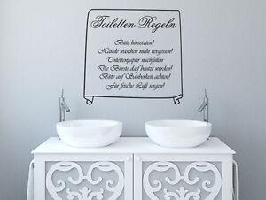 Wandtattoo Wandsticker Badezimmer Aufkleber WC Toiletten Regeln Nr ...