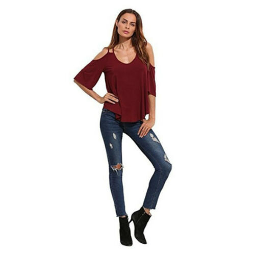 Women/'s Casual Short Sleeve Off the Shoulder Tank T-shirt Tops Blouse