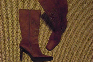 womens-skechers-brown-fabric-square-toe-side-zip-heel-boots-size-6-1-2