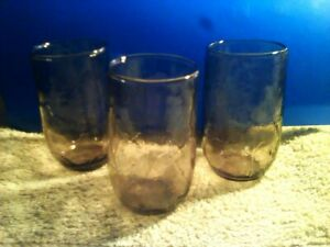 Anchor Hocking Amber Leaf Juice Glasses drinkware brown