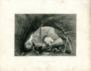 Caves-At-Ladram-Bay-Engraved-By-W-Finden-Of-A-Drawing-Of-J-D-Harding
