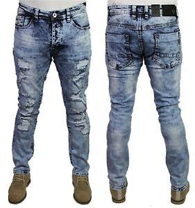 Eto-Coupe-slim-dechire-stretch-effet-vieilli-detruit-Designer-Denim-Jeans-Pantalon