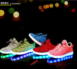 2016 Boys Girls LED Light Up Sport Flats Sneakers Casual