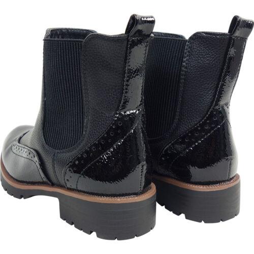 Womens Ladies Low Heel Chelsea Brogue Biker Ankle Boots Shoes Size Riding Size