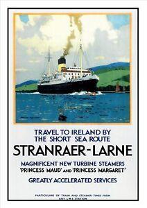Stranraer-Larne-LMS-Travel-to-Ireland-Railway-Print-Vintage-Old-Advert-Poster