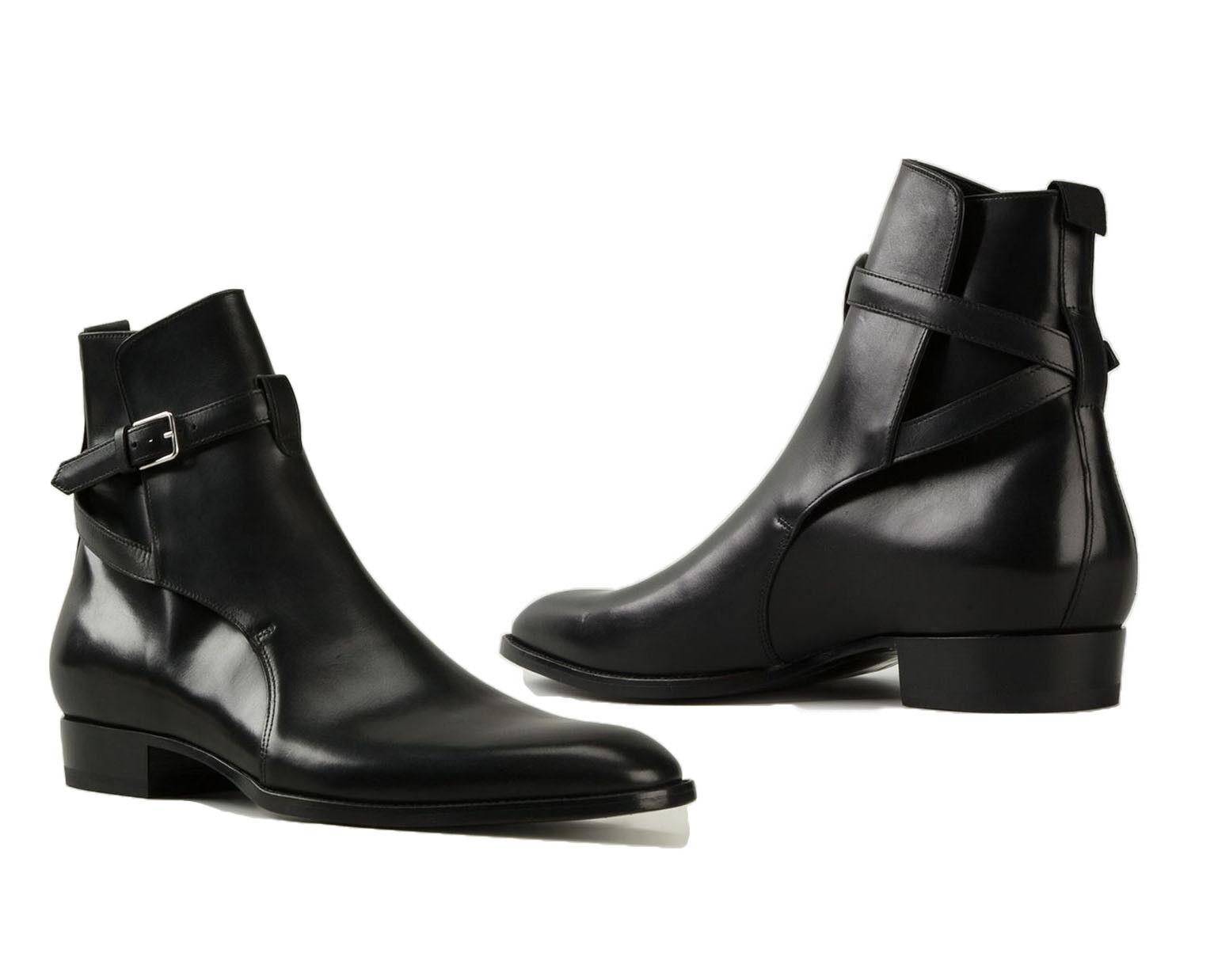 Handmade Jodhpurs Ankle Boot Men Black Buckle Leather Boots, Mens Dress Boots