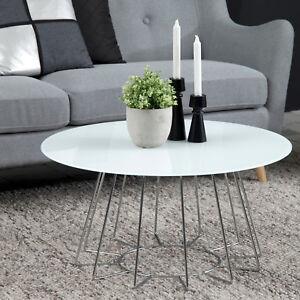Couchtisch Casiano Wohnzimmer Tisch Rund Glas Weiß Gestell Metall