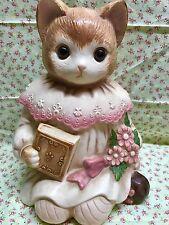 Vintage Cat Cookie Jar Ceramic Kitten Milton Family Glass Eyes Japan