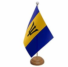 """BARBADOS TABLE FLAG 9""""X6"""" WITH WOODEN BASE FLAGS CARIBBEAN"""