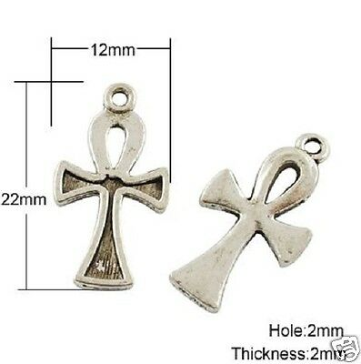 30 x Tibetan Silver Ankh Cross  Pendant Charms Gothic Wicca Pagan