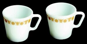 2 Corelle Corning BUTTERFLY GOLD Pyrex Coffee Cocoa Mugs EUC Retired Pattern