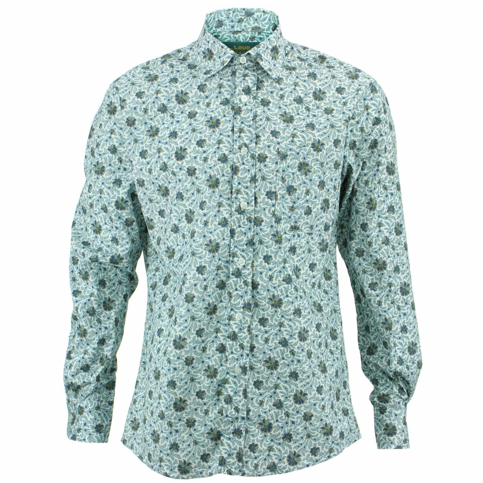... Camicia da uomo forte Originali Regular fit Retro FLOREALE BIANCA Retro  fit Psichedelico Costume c26fb3 a0bbdab5836