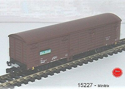 15227 Minitrix - Ged. Carro Merci 2 Assi, Modello Gbs 258, Marrone ´ On Rail