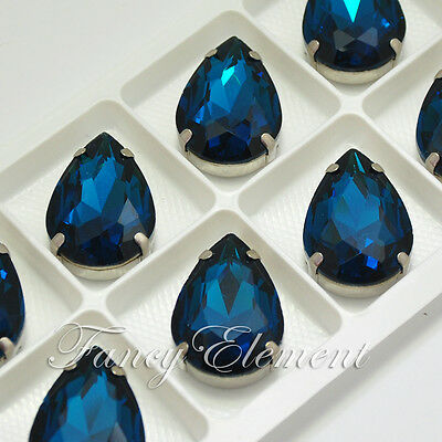 20x30mm Glass Pear 4320 Montana Blue Crystal Sew On Rhinestone Silver Gold Plate