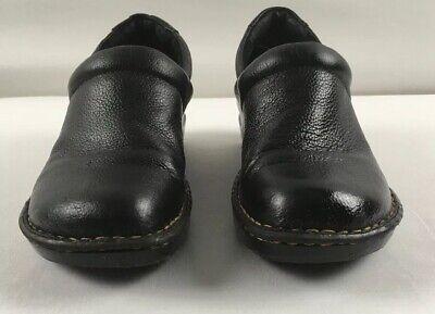 Comfort Shoes Born Concept Boc Black Leather Wedge Loafer Clog Bc3632 Women's 9.0 M Women's Shoes