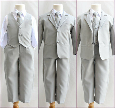 Silver/light grey infant toddler teen youth boy 5 pc formal suit wedding party