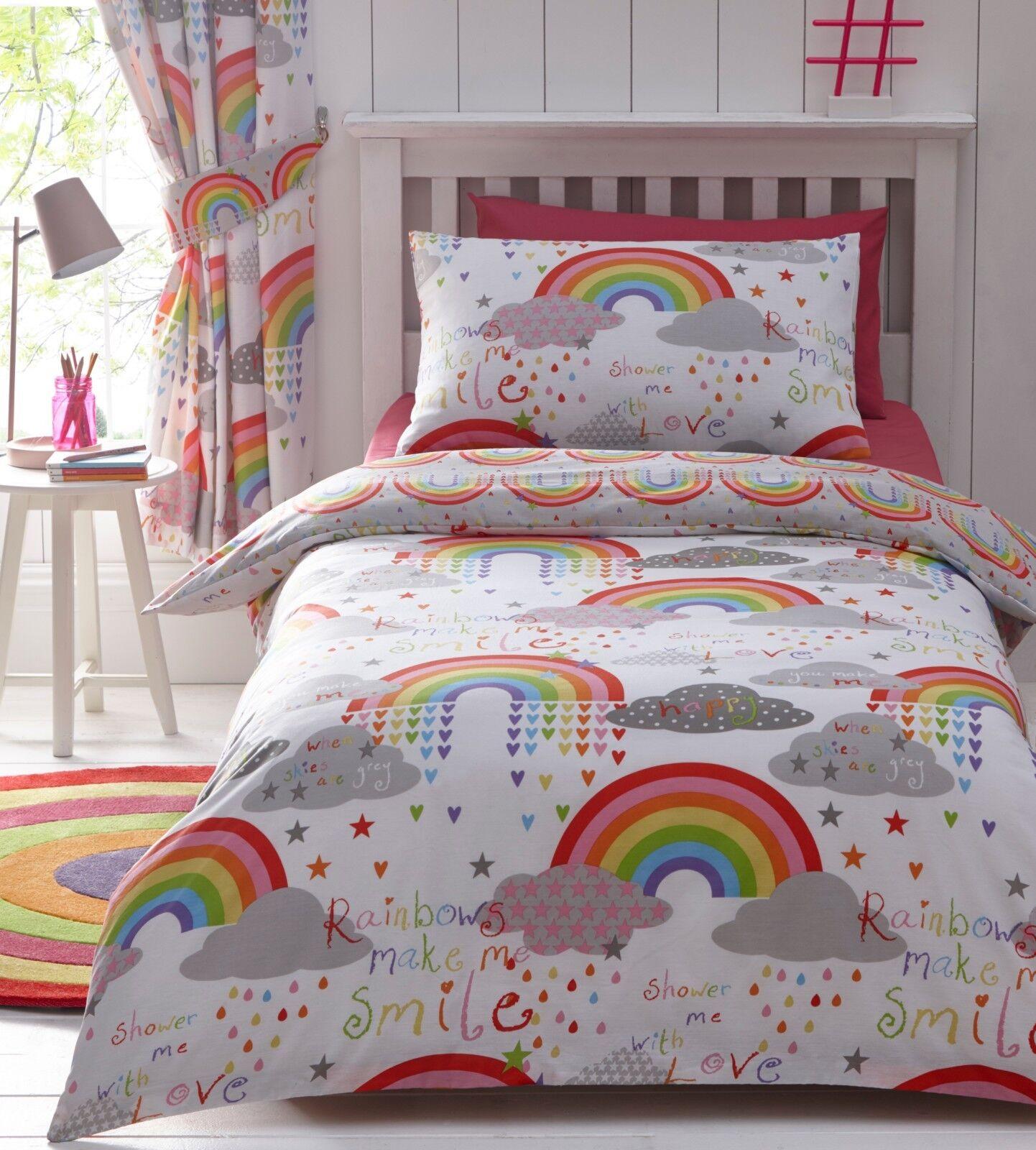 Wolken & Regenbogen Mädchen Kinder Süße Liebe Wende Bettwäscheset