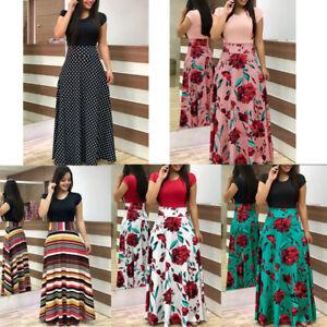 da1e897bb871 Women s Summer Boho Floral Short Sleeve Long Maxi Dress Party Beach ...