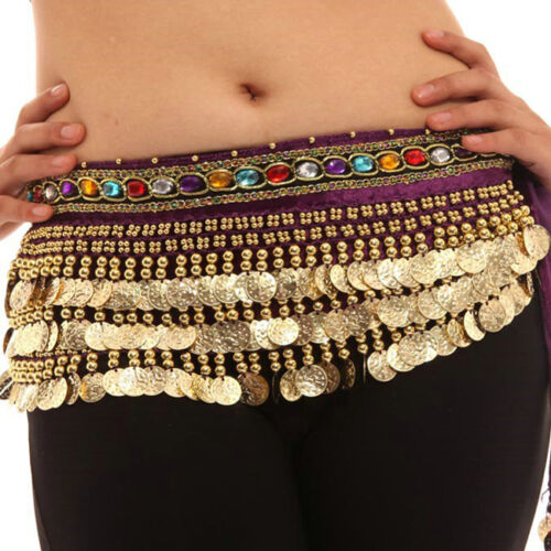 Belly Dance Waist Chain Hip Scarf Gold Coins Band Gemstone Velvet Belt Costume