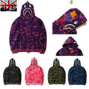 A/Bathing Ape BAPE Men's Shark Jaw Camo Full Zipper Hoodie Sweats Coat Jacket UK
