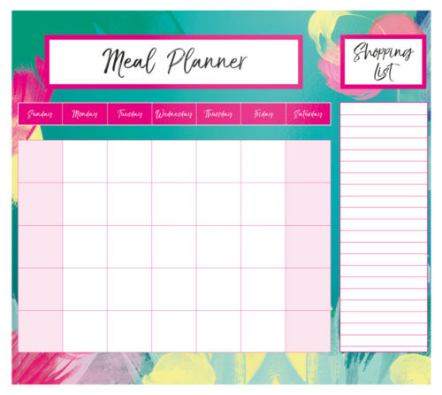 Magnetic Meal Planner /& Shopping List Pad Monthly Notes Brushstroke Design BRUI