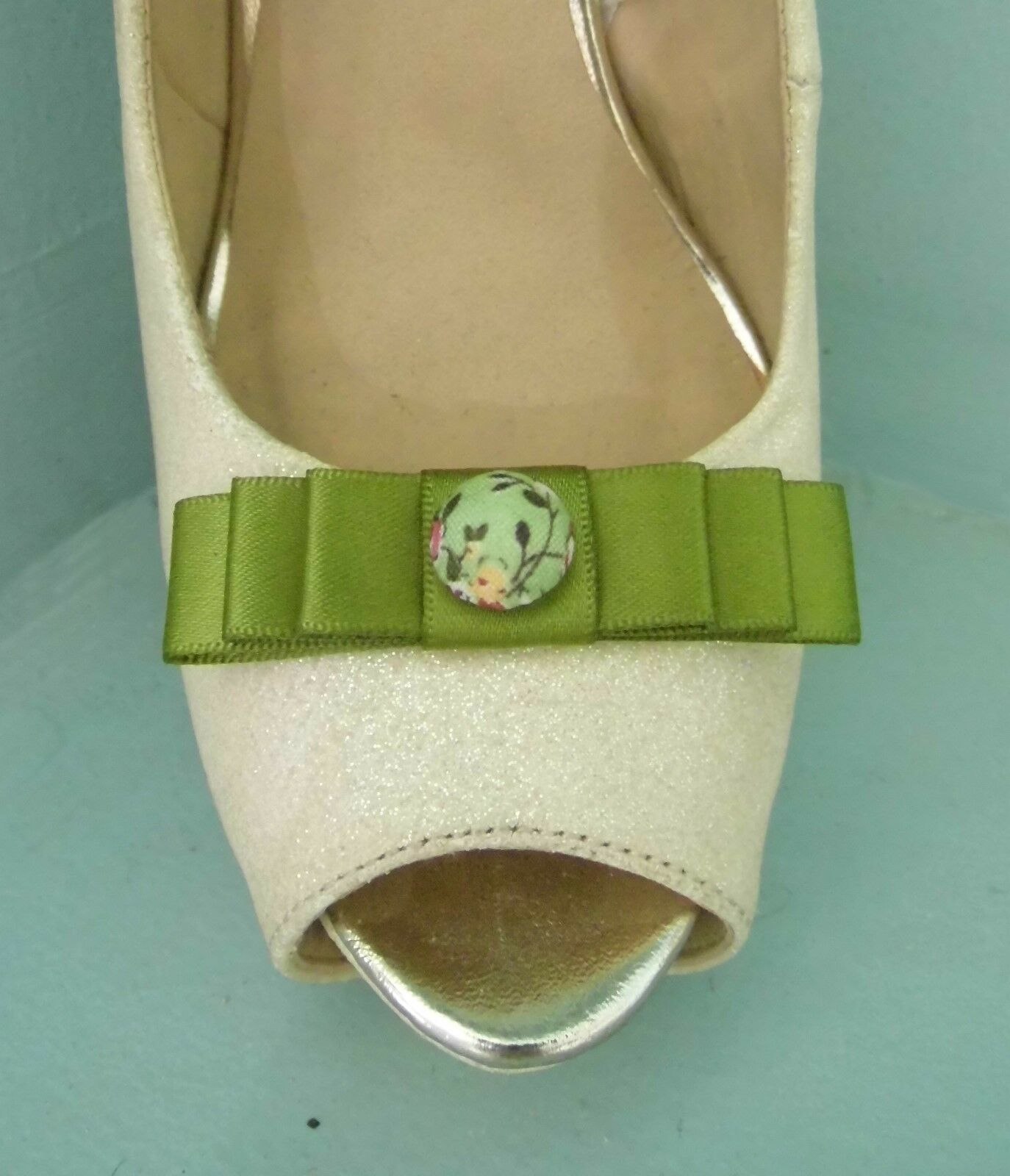 2 Small Moss Green Bow Clips for Shoes with Oriental Style Button Centre