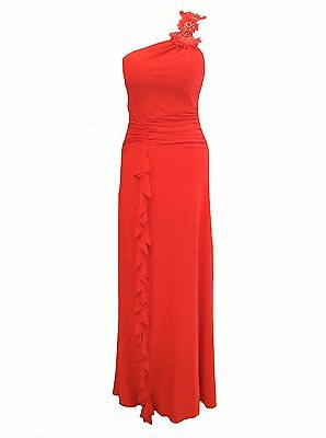 Womens Bright Red One-Shoulder Corsage Formal Evening Party Long Dress Sz 10/12