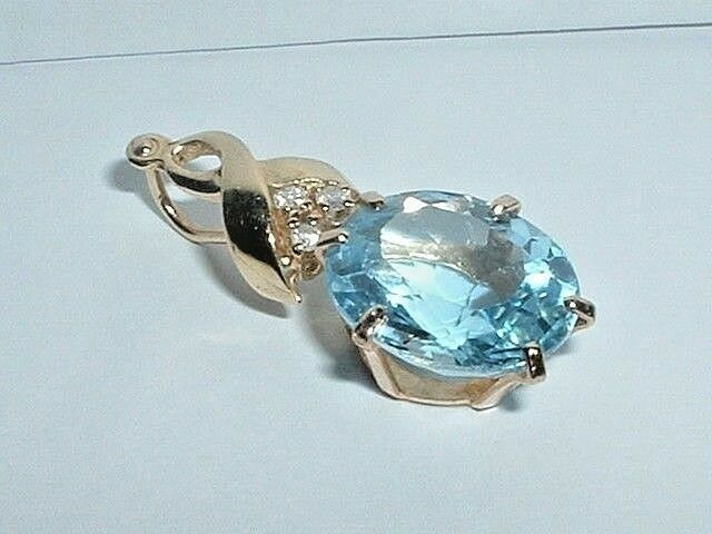 14K YELLOW gold blueE TOPAZ & DIAMOND SLIDE PENDANT CHARM