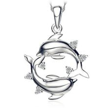 """Love Dolphins Heart Austrian Crystal Pendant Silver Necklace 18"""" Chain Gift K33"""