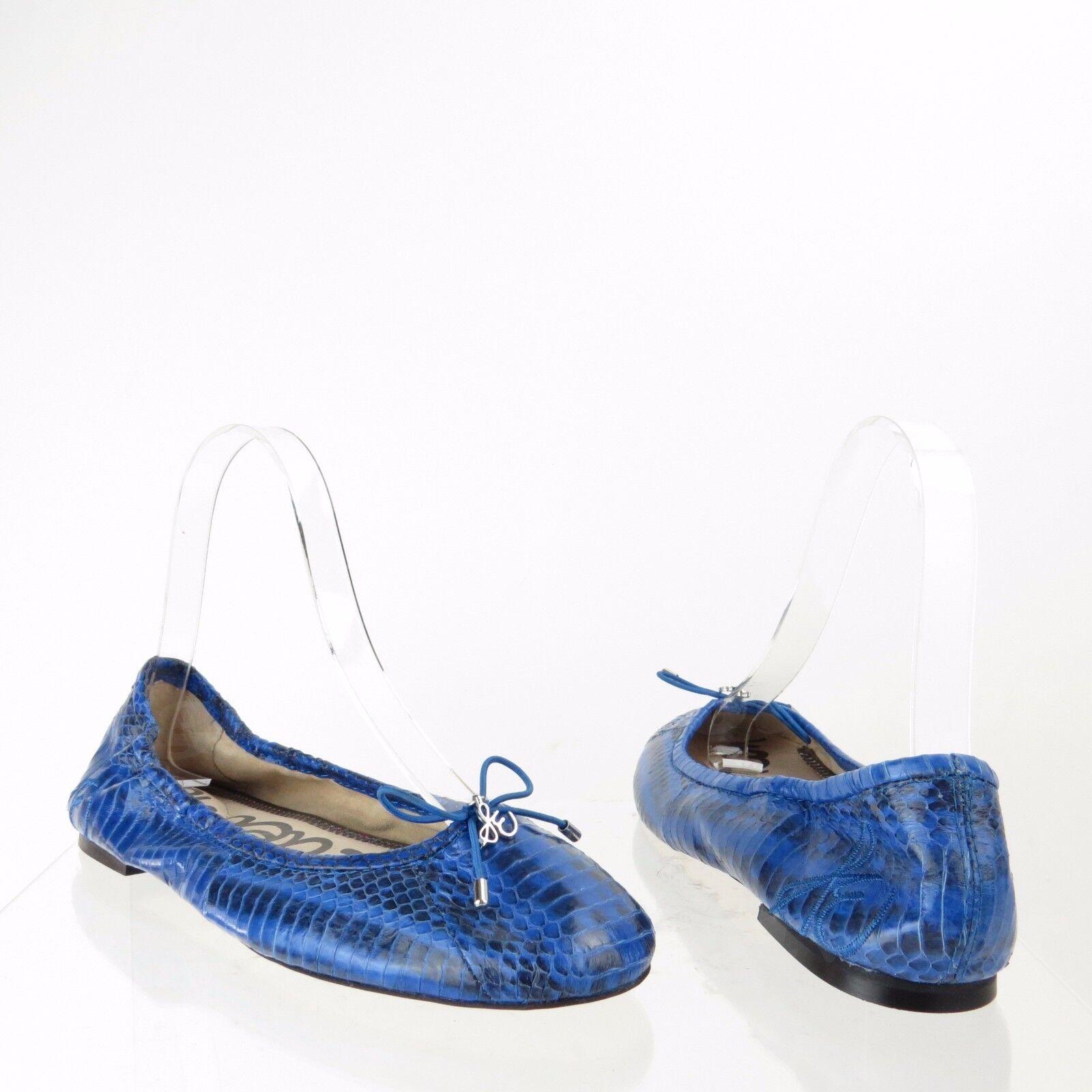 Sam Edelman Felicia Damenschuhe Schuhes Blau Leder Croc Print Ballet Flats Sz 6 M NEU