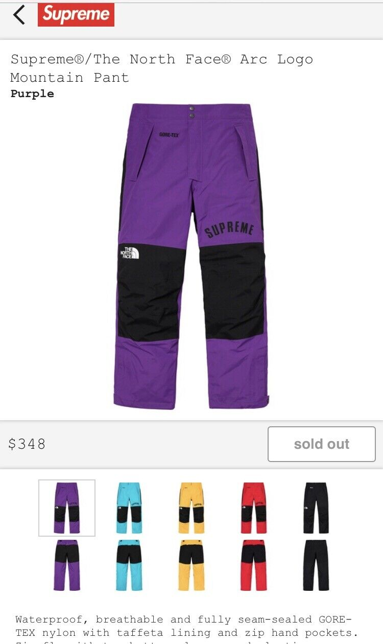 Supreme The North Face Pants -Purple (Small) CONFIRMED