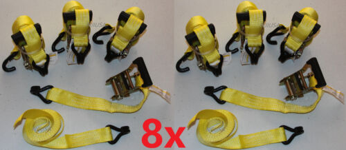 "Dual J-Crochets YE environ 4.57 m environ 1360.78 kg 8x Heavy Duty 1.5/"" X 15 FT Ratchet Cargo Tie Down Straps 3000 Lb"