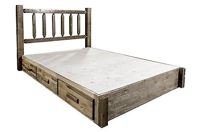Farmhouse Style Queen Platform Bed With Storage Drawers Amish Made Rustic Beds Ebay